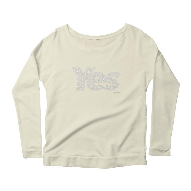 Yes (White) - One Continuous Line Women's Scoop Neck Longsleeve T-Shirt by Daniel Dugan's Artist Shop