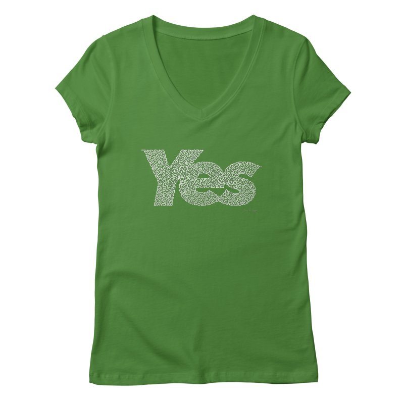 Yes (White) - One Continuous Line Women's Regular V-Neck by Daniel Dugan's Artist Shop