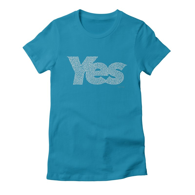 Yes (White) - One Continuous Line Women's Fitted T-Shirt by Daniel Dugan's Artist Shop