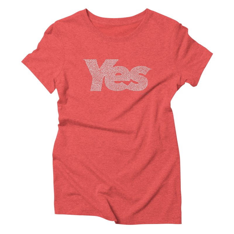 Yes (White) - One Continuous Line Women's Triblend T-Shirt by Daniel Dugan's Artist Shop