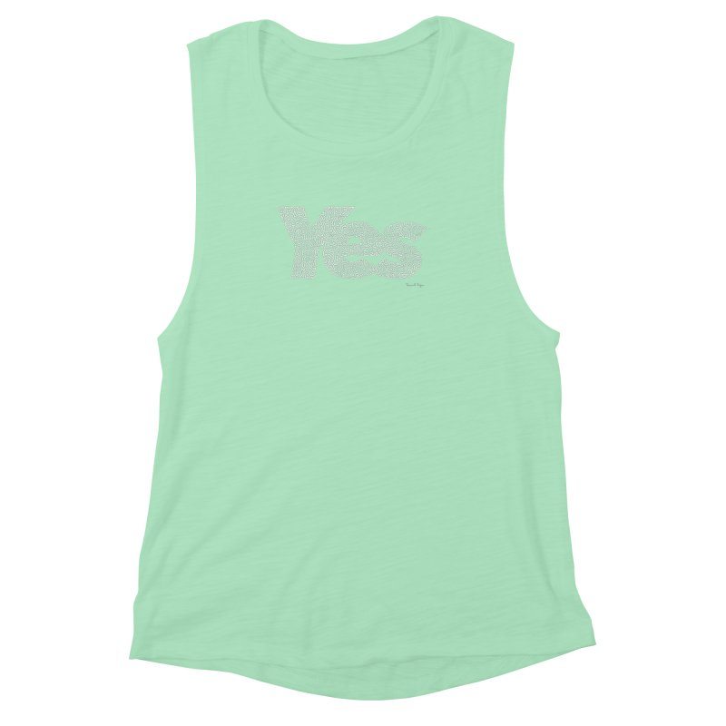 Yes (White) - One Continuous Line Women's Muscle Tank by Daniel Dugan's Artist Shop