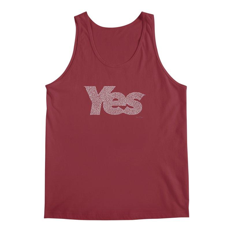 Yes (White) - One Continuous Line Men's Regular Tank by Daniel Dugan's Artist Shop