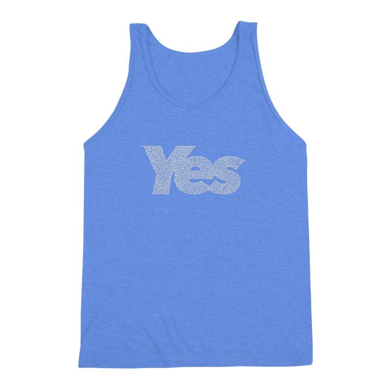 Yes (White) - One Continuous Line Men's Triblend Tank by Daniel Dugan's Artist Shop
