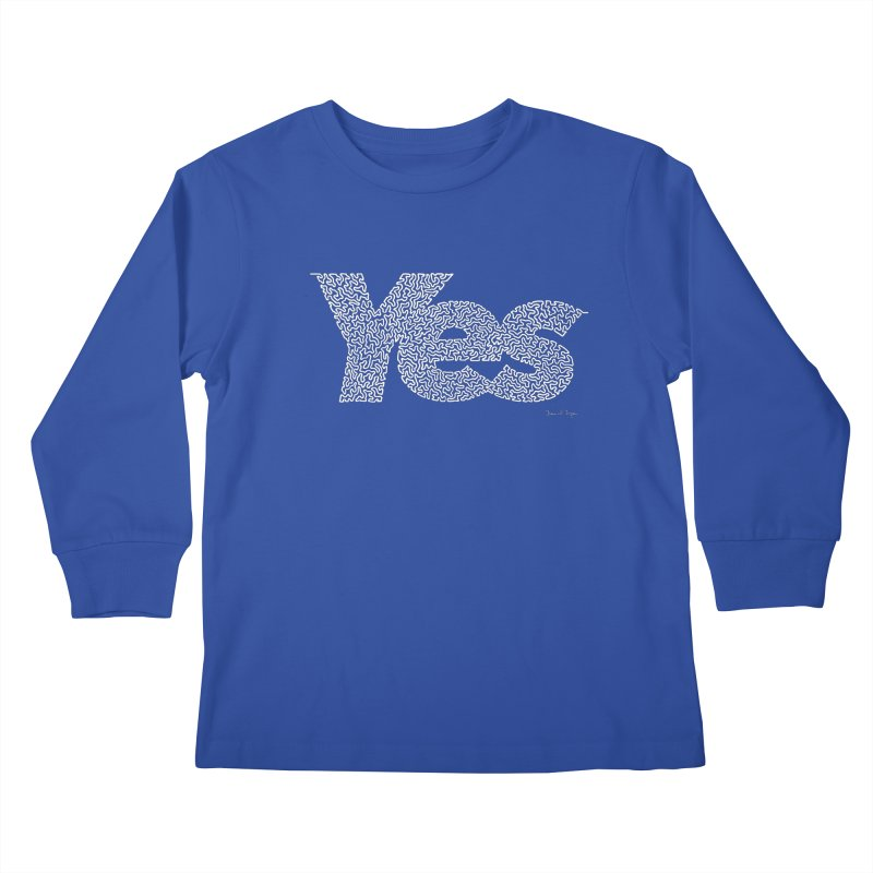 Yes (White) - One Continuous Line Kids Longsleeve T-Shirt by Daniel Dugan's Artist Shop