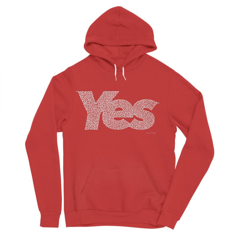 Yes (White) - Multiple Colors + 40 Other Products Men's Sponge Fleece Pullover Hoody by Daniel Dugan's Artist Shop