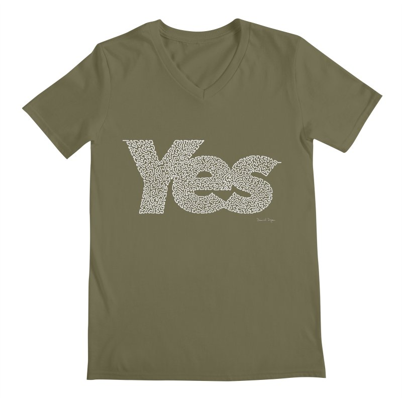 Yes (White) - Multiple Colors + 40 Other Products Men's V-Neck by Daniel Dugan's Artist Shop