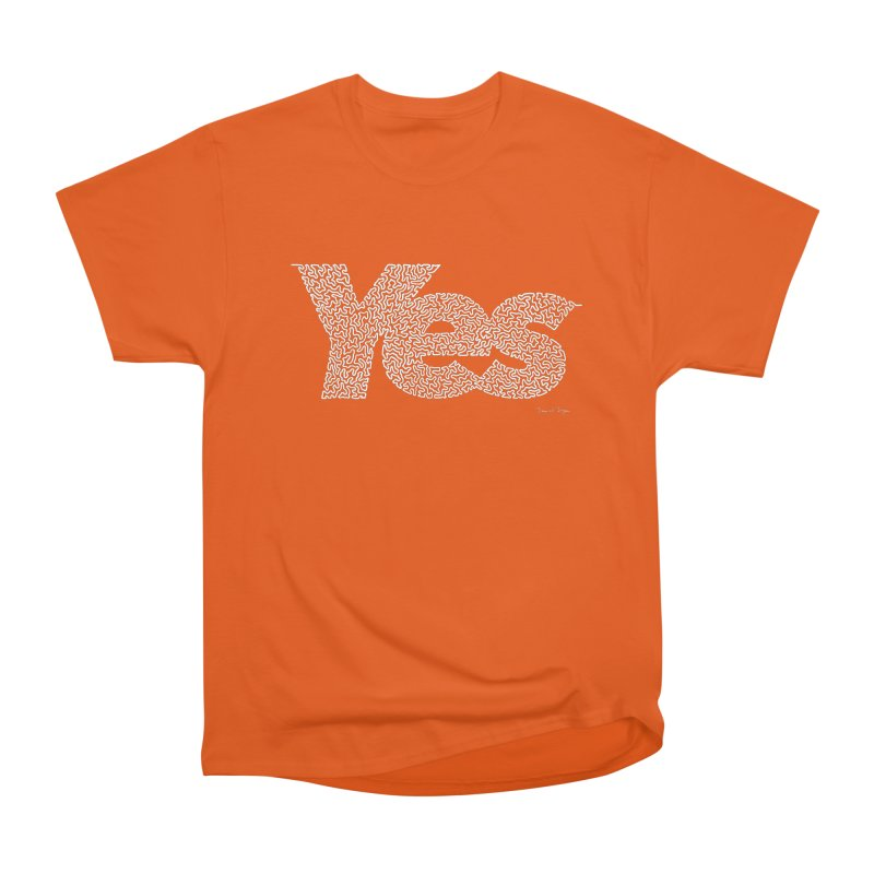 Yes (White) - Multiple Colors + 40 Other Products Men's Heavyweight T-Shirt by Daniel Dugan's Artist Shop