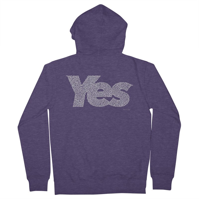 Yes (White) - Multiple Colors + 40 Other Products Men's French Terry Zip-Up Hoody by Daniel Dugan's Artist Shop
