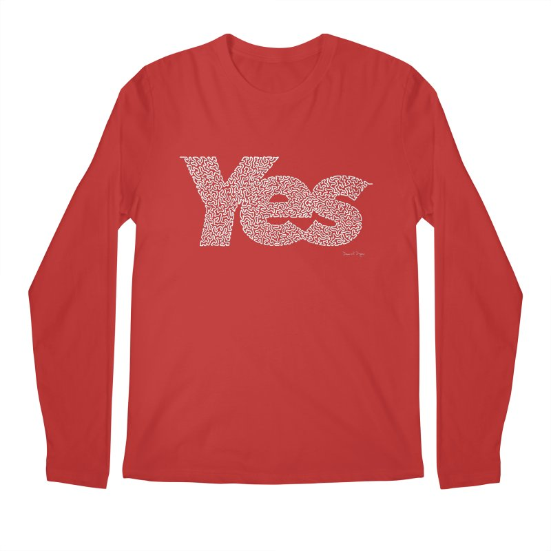 Yes (White) - Multiple Colors + 40 Other Products Men's Regular Longsleeve T-Shirt by Daniel Dugan's Artist Shop