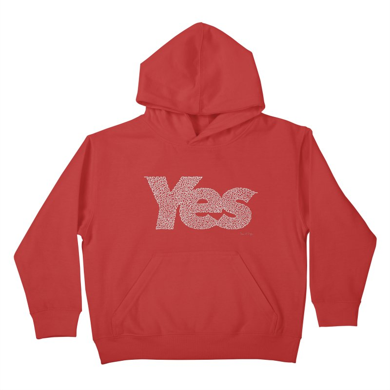 Yes (White) - Multiple Colors + 40 Other Products Kids Pullover Hoody by Daniel Dugan's Artist Shop