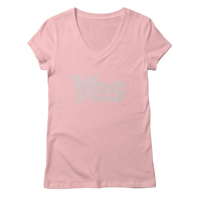 Yes (White) - Multiple Colors + 40 Other Products Women's V-Neck by Daniel Dugan's Artist Shop