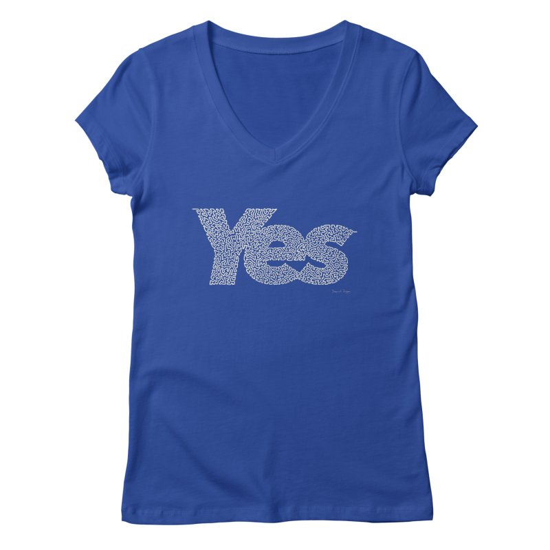 Yes (White) - Multiple Colors + 40 Other Products Women's Regular V-Neck by Daniel Dugan's Artist Shop
