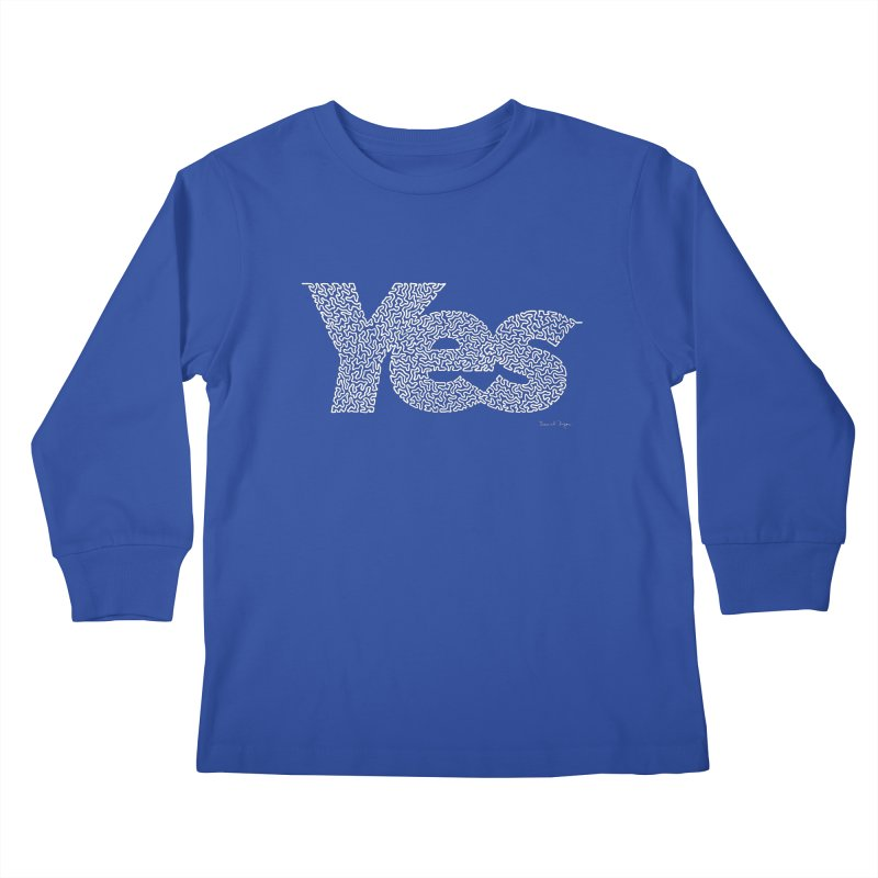 Yes (White) - Multiple Colors + 40 Other Products Kids Longsleeve T-Shirt by Daniel Dugan's Artist Shop