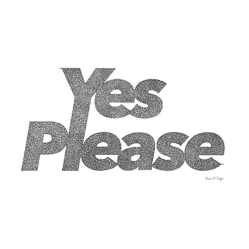 Yes Please (Black) - One Continuous LIne None  by Daniel Dugan's Artist Shop