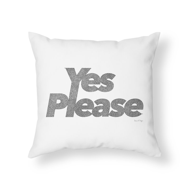 Yes Please (Black) - One Continuous LIne Home Throw Pillow by Daniel Dugan's Artist Shop