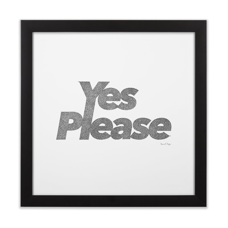 Yes Please (Black) - One Continuous LIne Home Framed Fine Art Print by Daniel Dugan's Artist Shop
