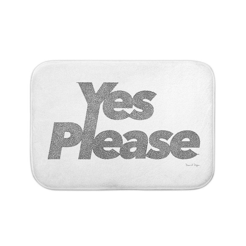 Yes Please (Black) - One Continuous LIne Home Bath Mat by Daniel Dugan's Artist Shop