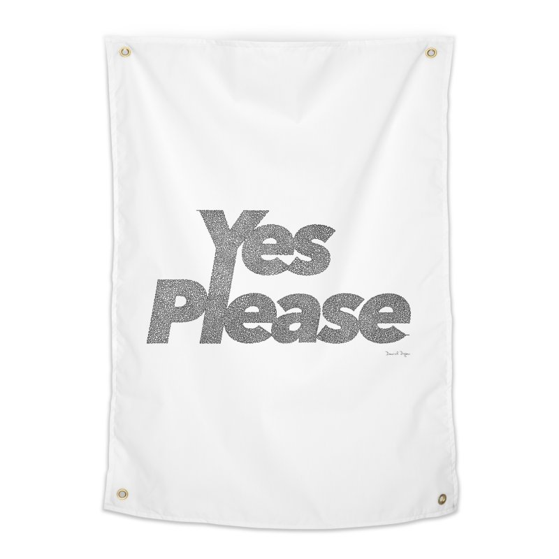 Yes Please (Black) - One Continuous LIne Home Tapestry by Daniel Dugan's Artist Shop