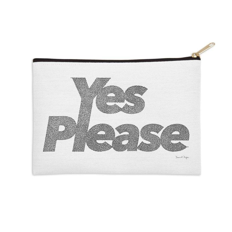 Yes Please (Black) - One Continuous LIne Accessories Zip Pouch by Daniel Dugan's Artist Shop