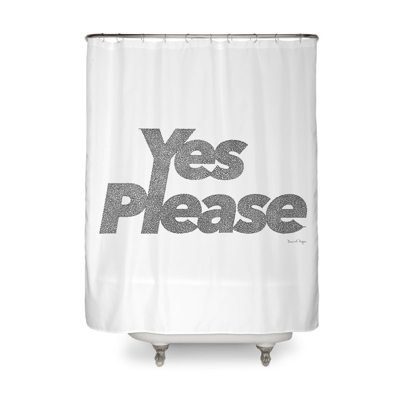 Yes Please (Black) - One Continuous LIne Home Shower Curtain by Daniel Dugan's Artist Shop