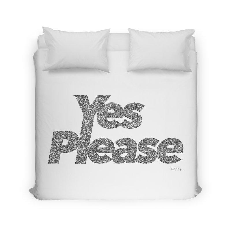 Yes Please (Black) - One Continuous LIne Home Duvet by Daniel Dugan's Artist Shop