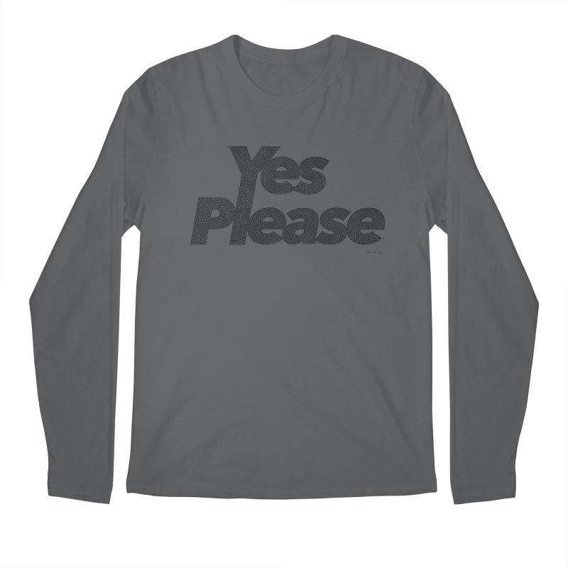 Yes Please (Black) - One Continuous LIne Men's Longsleeve T-Shirt by Daniel Dugan's Artist Shop