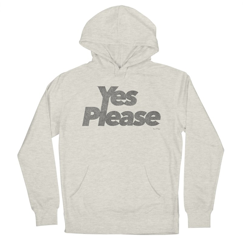 Yes Please (Black) - One Continuous LIne Men's French Terry Pullover Hoody by Daniel Dugan's Artist Shop