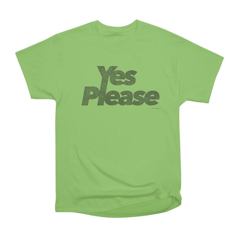 Yes Please (Black) - One Continuous LIne Men's Heavyweight T-Shirt by Daniel Dugan's Artist Shop