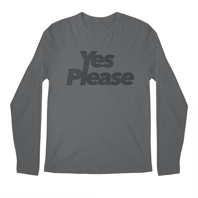 Yes Please (Black) - One Continuous LIne Men's Regular Longsleeve T-Shirt by Daniel Dugan's Artist Shop