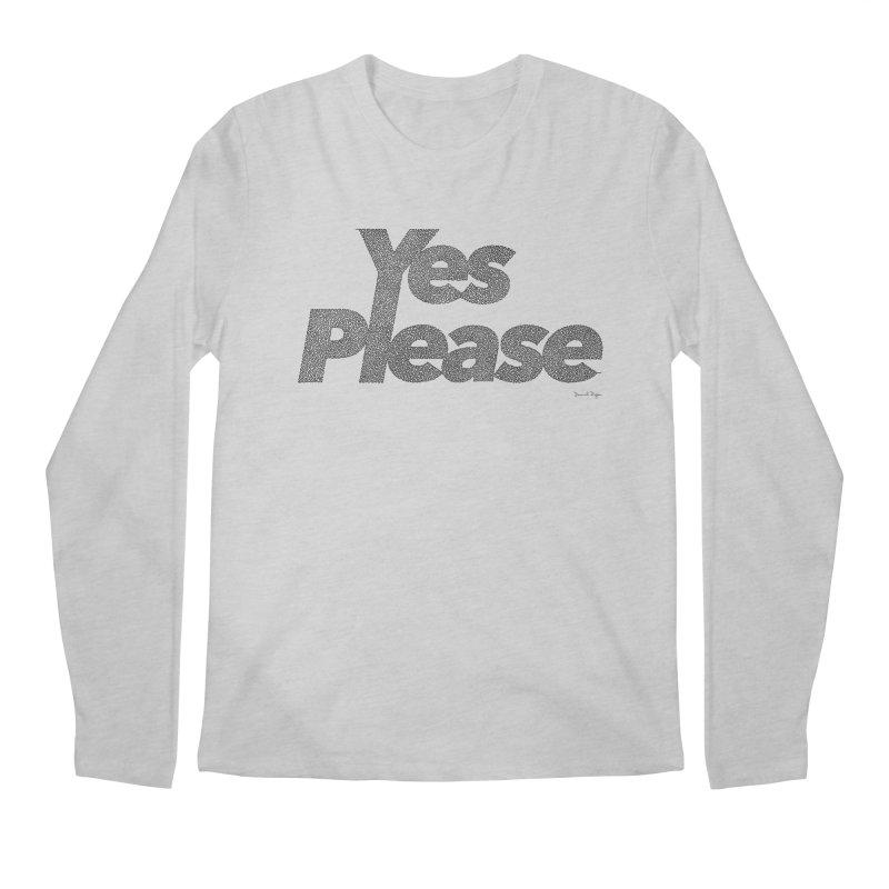 Yes Please (Black) - One Continuous LIne Men's Regular Longsleeve T-Shirt by Daniel Dugan's Artist Shop