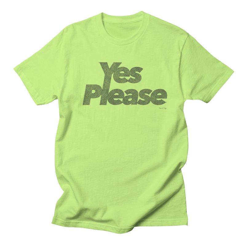 Yes Please (Black) - One Continuous LIne Men's Regular T-Shirt by Daniel Dugan's Artist Shop
