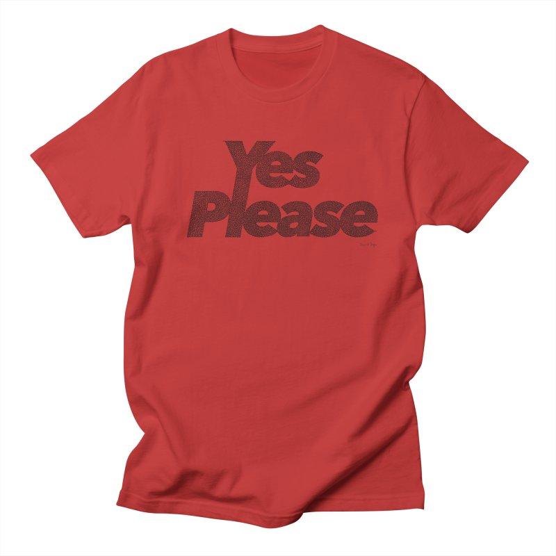 Yes Please (Black) - One Continuous LIne Women's Regular Unisex T-Shirt by Daniel Dugan's Artist Shop