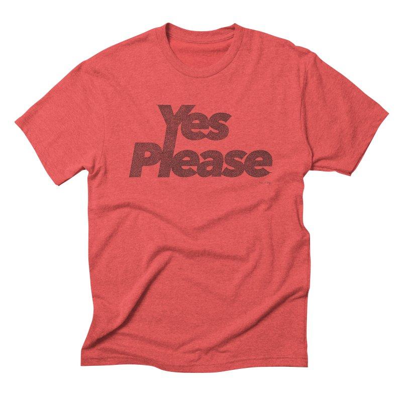 Yes Please (Black) - One Continuous LIne Men's Triblend T-Shirt by Daniel Dugan's Artist Shop