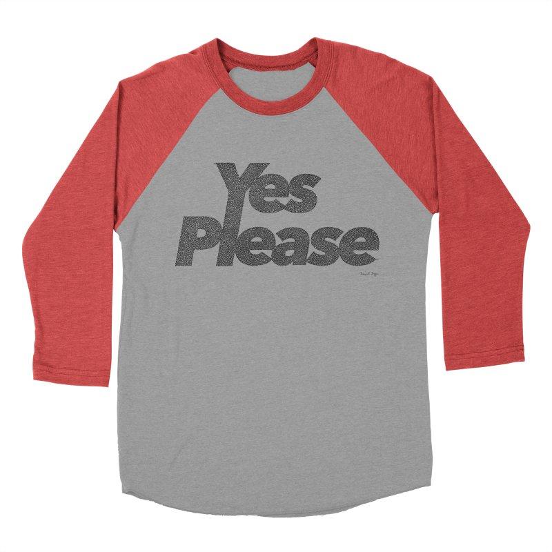Yes Please (Black) - One Continuous LIne Men's Baseball Triblend Longsleeve T-Shirt by Daniel Dugan's Artist Shop