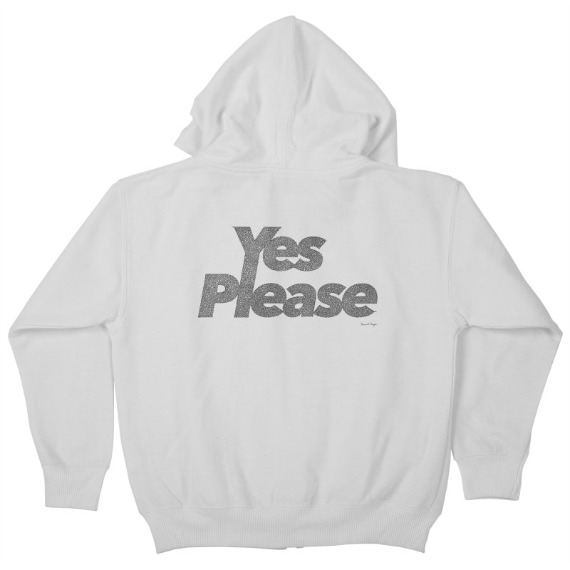 Yes Please (Black) - One Continuous LIne Kids Zip-Up Hoody by Daniel Dugan's Artist Shop