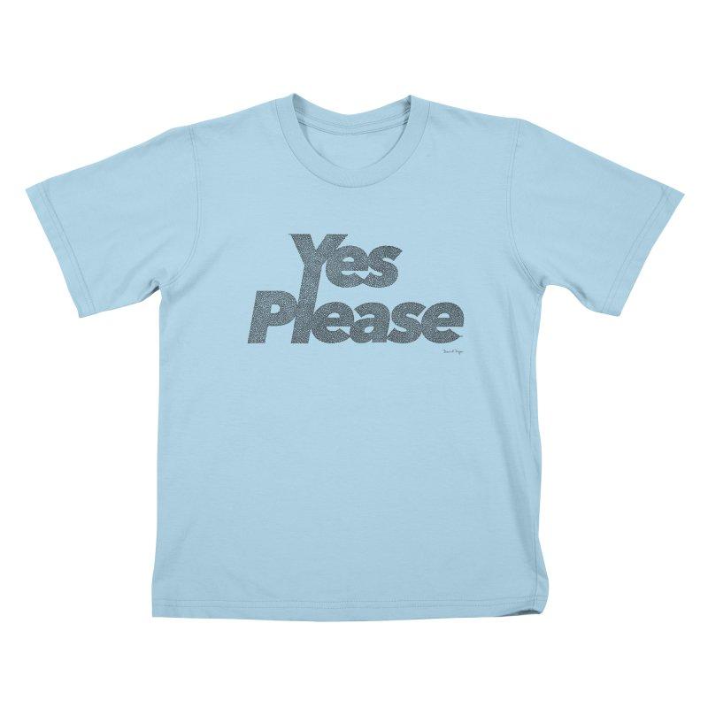 Yes Please (Black) - One Continuous LIne Kids T-Shirt by Daniel Dugan's Artist Shop