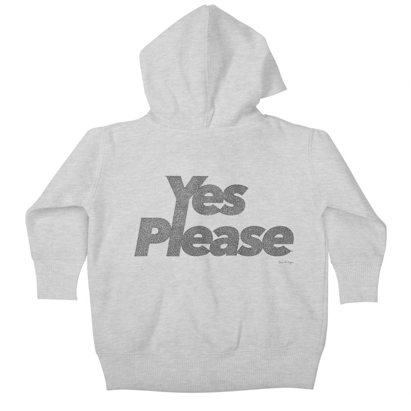 Yes Please (Black) - One Continuous LIne Kids Baby Zip-Up Hoody by Daniel Dugan's Artist Shop