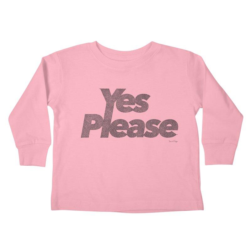 Yes Please (Black) - One Continuous LIne Kids Toddler Longsleeve T-Shirt by Daniel Dugan's Artist Shop