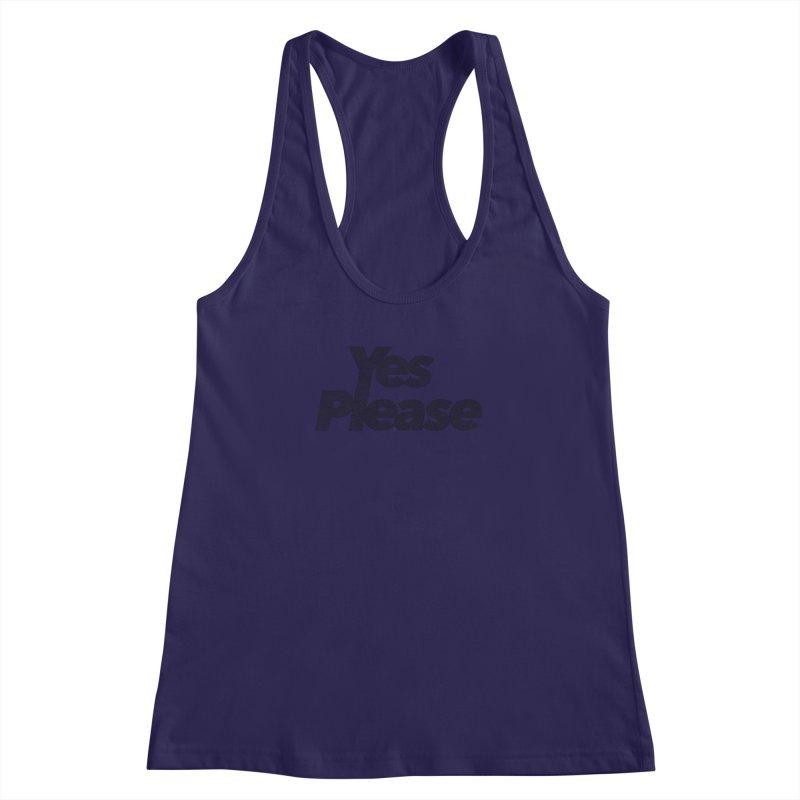 Yes Please (Black) - One Continuous LIne Women's Racerback Tank by Daniel Dugan's Artist Shop