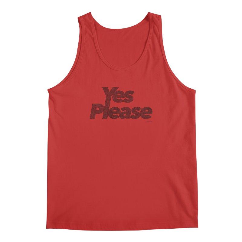 Yes Please (Black) - One Continuous LIne Men's Regular Tank by Daniel Dugan's Artist Shop