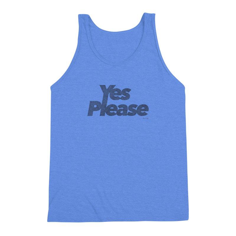 Yes Please (Black) - One Continuous LIne Men's Triblend Tank by Daniel Dugan's Artist Shop
