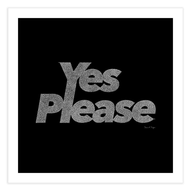 Yes Please (White) - One Continuous Line Home Fine Art Print by Daniel Dugan's Artist Shop