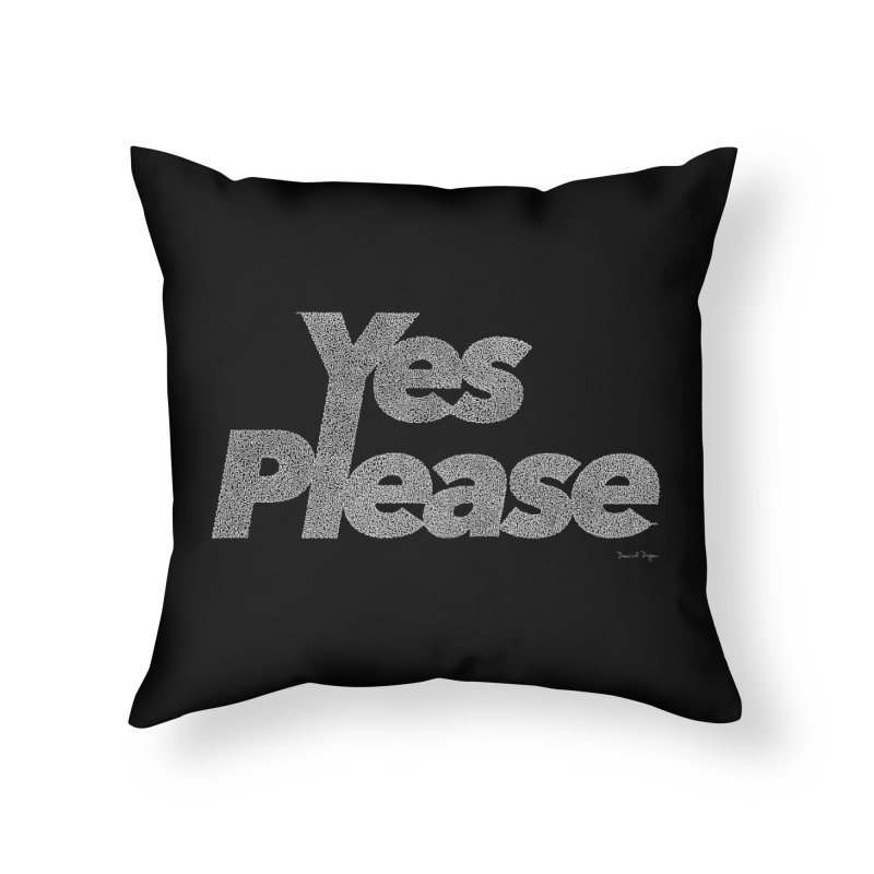 Yes Please (White) - One Continuous Line Home Throw Pillow by Daniel Dugan's Artist Shop