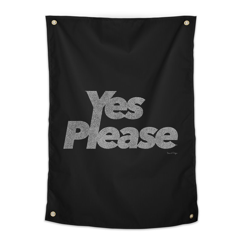 Yes Please (White) - One Continuous Line Home Tapestry by Daniel Dugan's Artist Shop