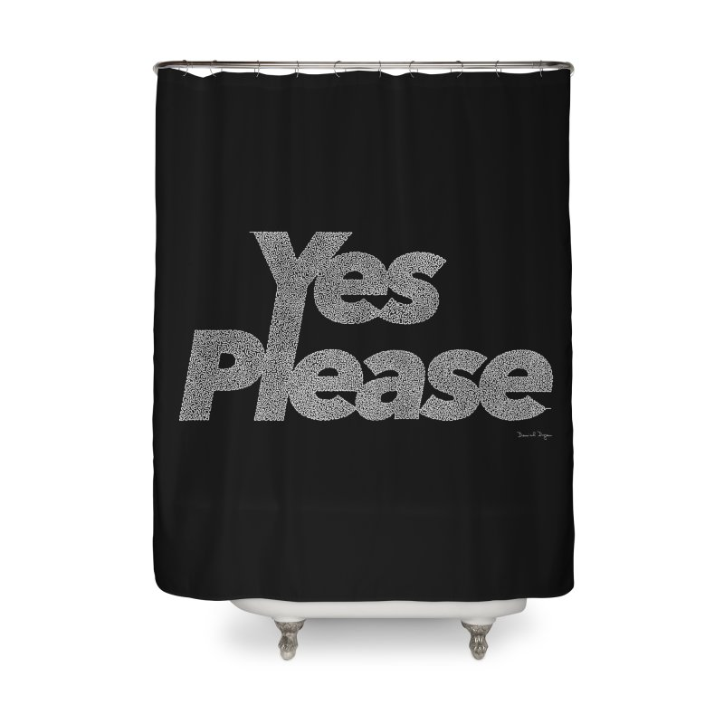 Yes Please (White) - One Continuous Line Home Shower Curtain by Daniel Dugan's Artist Shop
