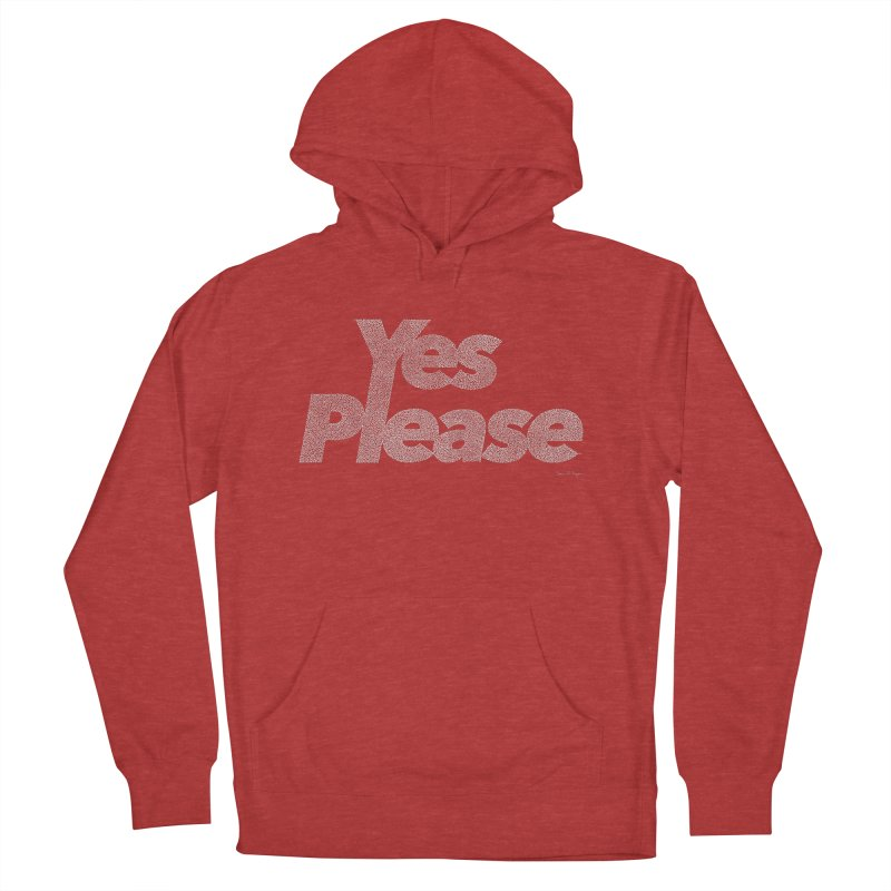 Yes Please (White) - One Continuous Line Women's French Terry Pullover Hoody by Daniel Dugan's Artist Shop
