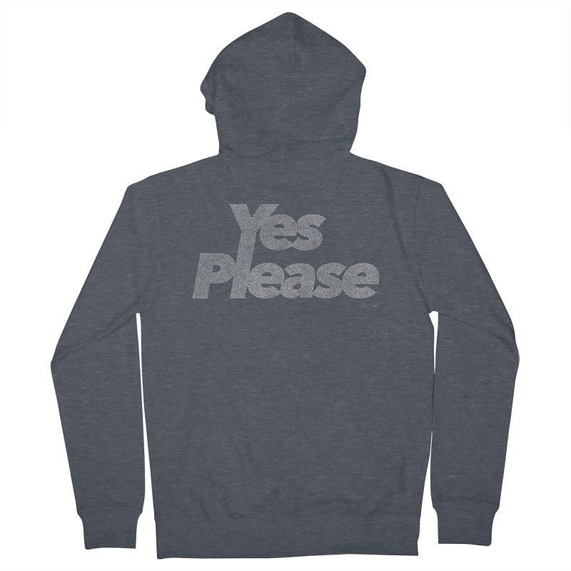 Yes Please (White) - One Continuous Line Women's French Terry Zip-Up Hoody by Daniel Dugan's Artist Shop
