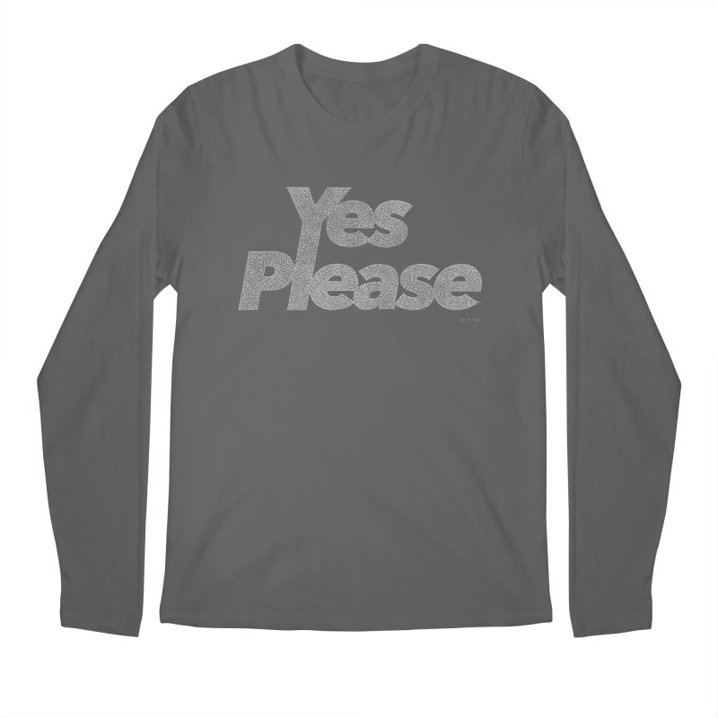 Yes Please (White) - One Continuous Line Men's Regular Longsleeve T-Shirt by Daniel Dugan's Artist Shop