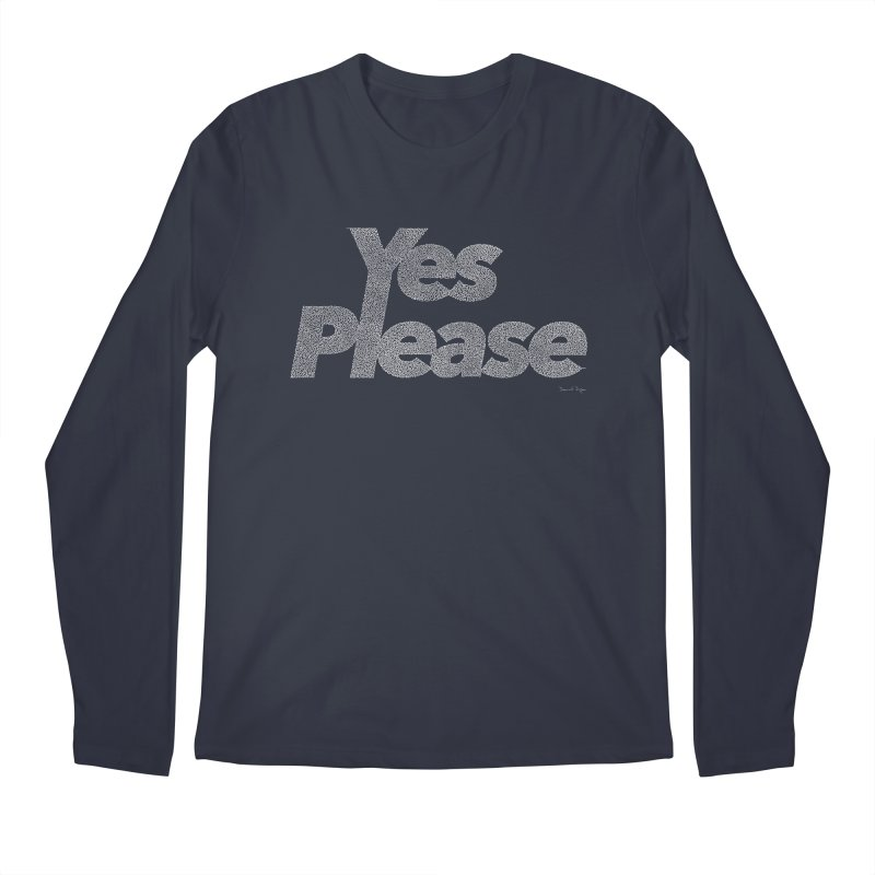 Yes Please (White) - One Continuous Line Men's Regular Longsleeve T-Shirt by Daniel Dugan's Artist Shop
