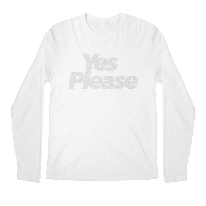 Yes Please (White) - One Continuous Line Men's Longsleeve T-Shirt by Daniel Dugan's Artist Shop